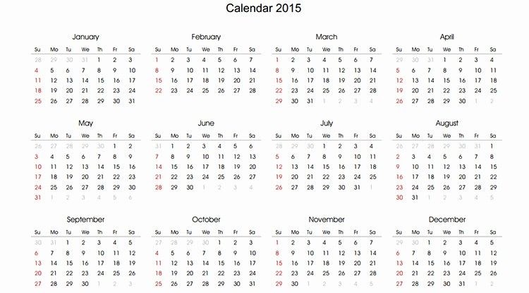 Free Yearly Calendar Templates 2015 Fresh 60 Best 2015 Yearly Calendar Templates to Download