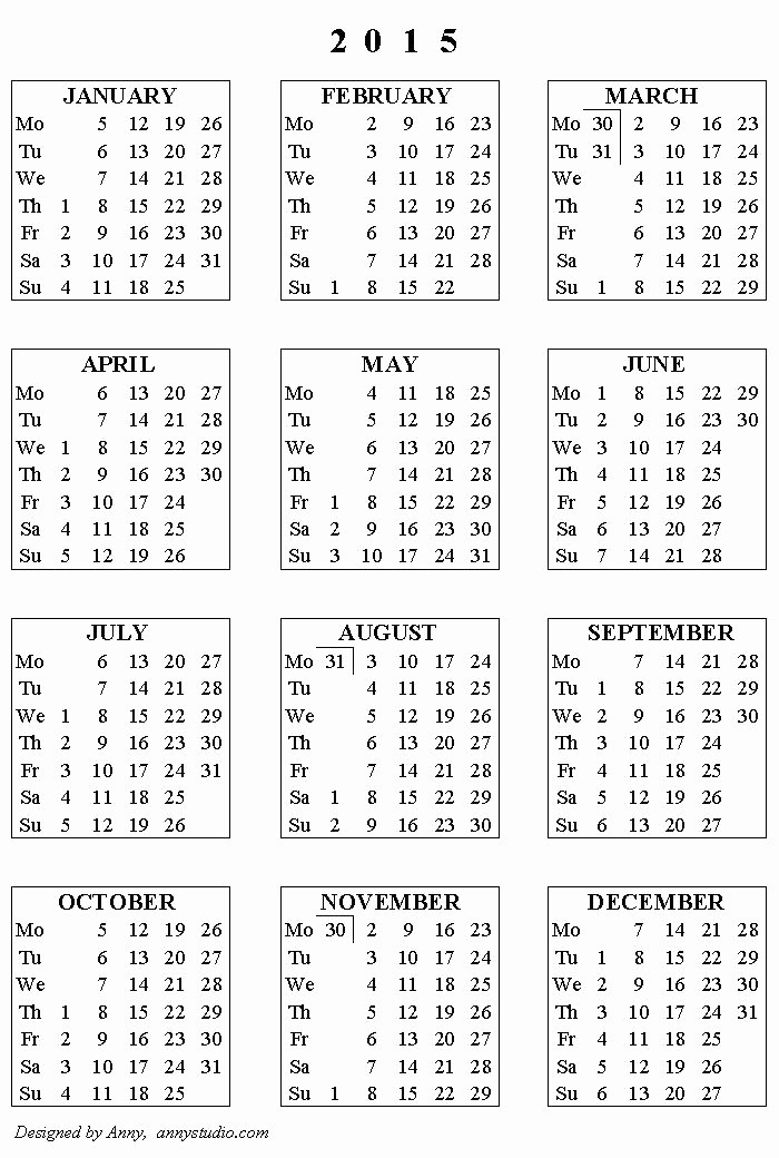 Free Yearly Calendar Templates 2015 Inspirational 2015 Yearly Calendar Template – Buildingcontractor