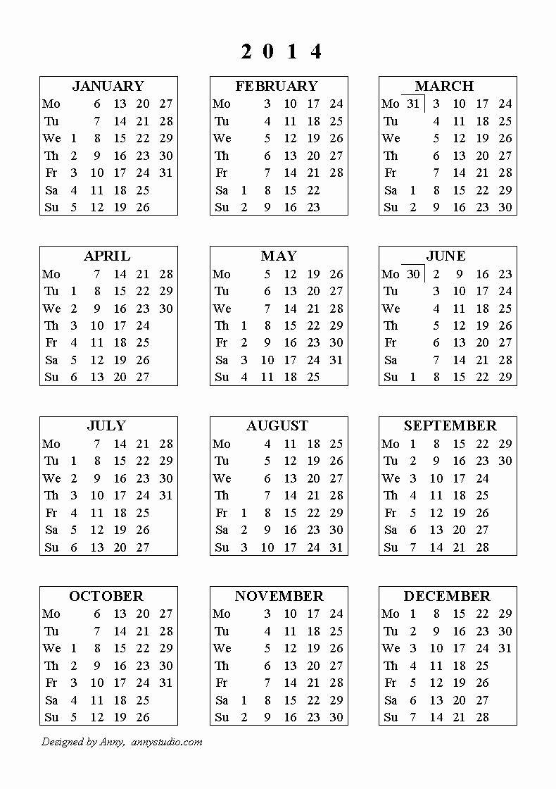 Free Yearly Calendar Templates 2015 Lovely 2014 Yearly Calendar E Page