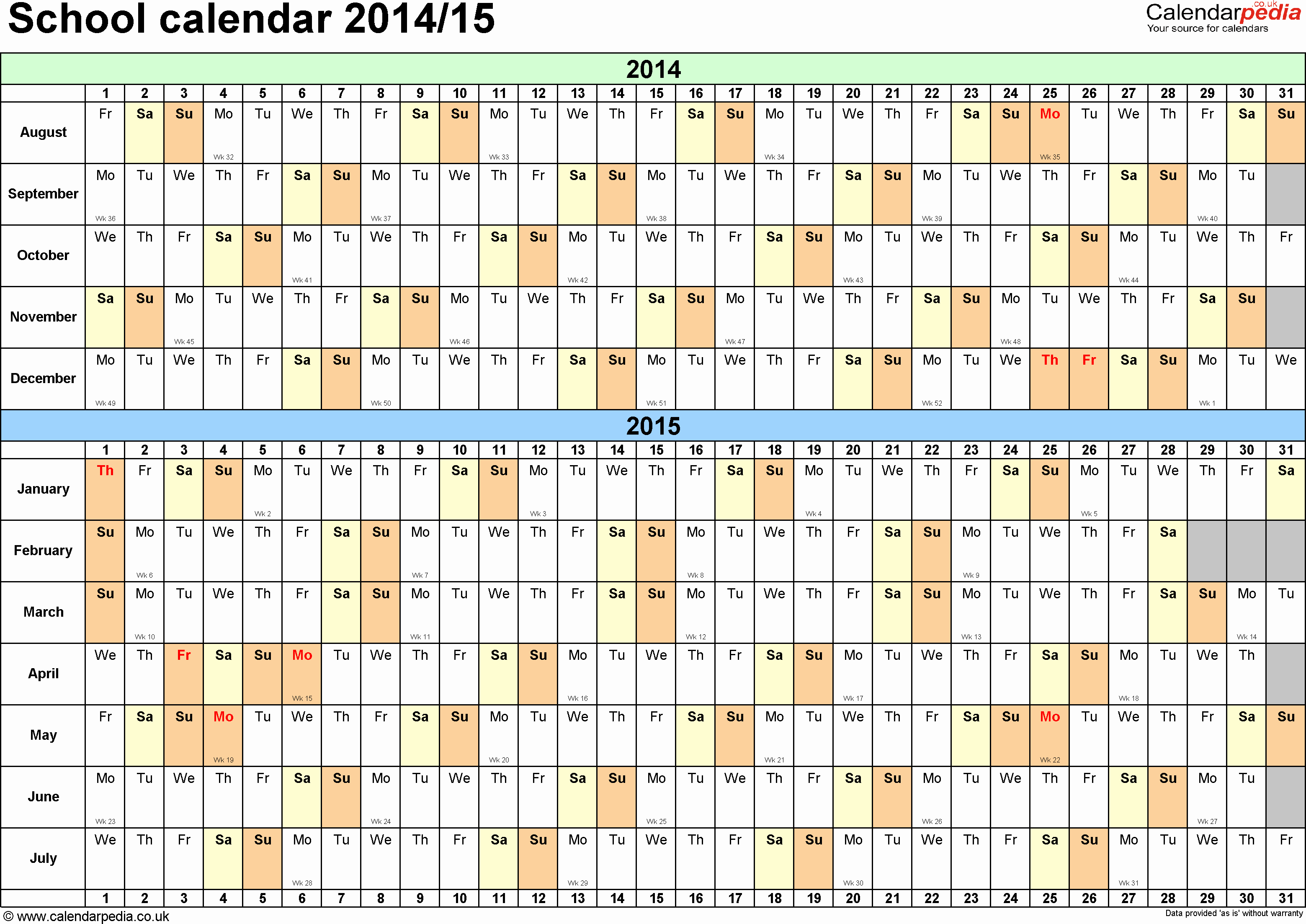 Free Yearly Calendar Templates 2015 Lovely Year Planner 2015 Excel Free Download School Calendars