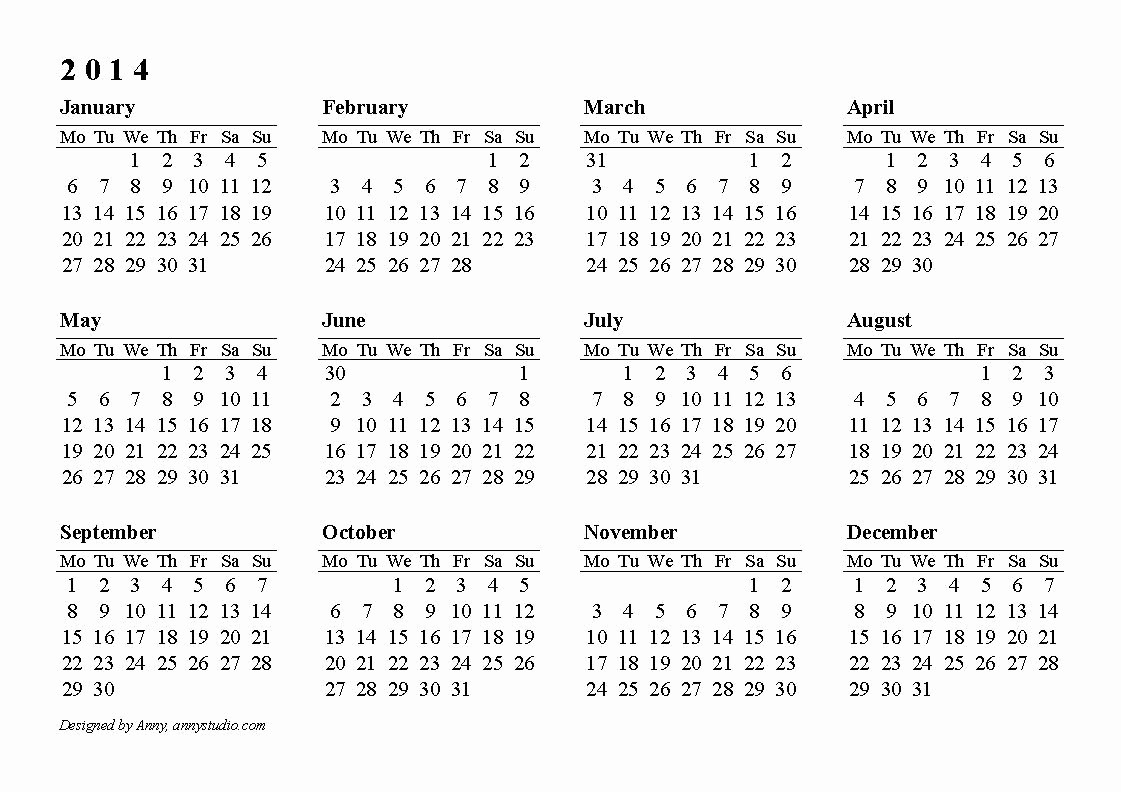 Free Yearly Calendar Templates 2015 New 2014 Printable Calendar Download Templates