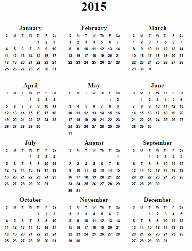 Free Yearly Calendar Templates 2015 New 5 Best Of 2015 Calendar Printable 2015 Calendar
