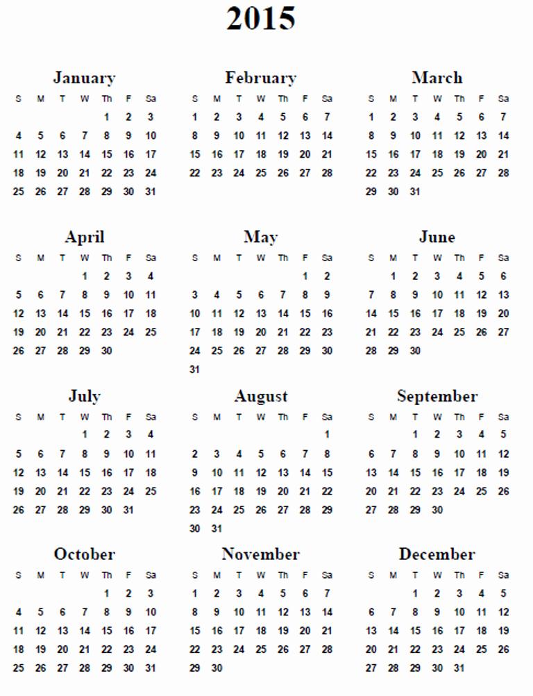 Free Yearly Calendar Templates 2015 New 5 Best Of 2015 Calendar Printable 2015 Calendar