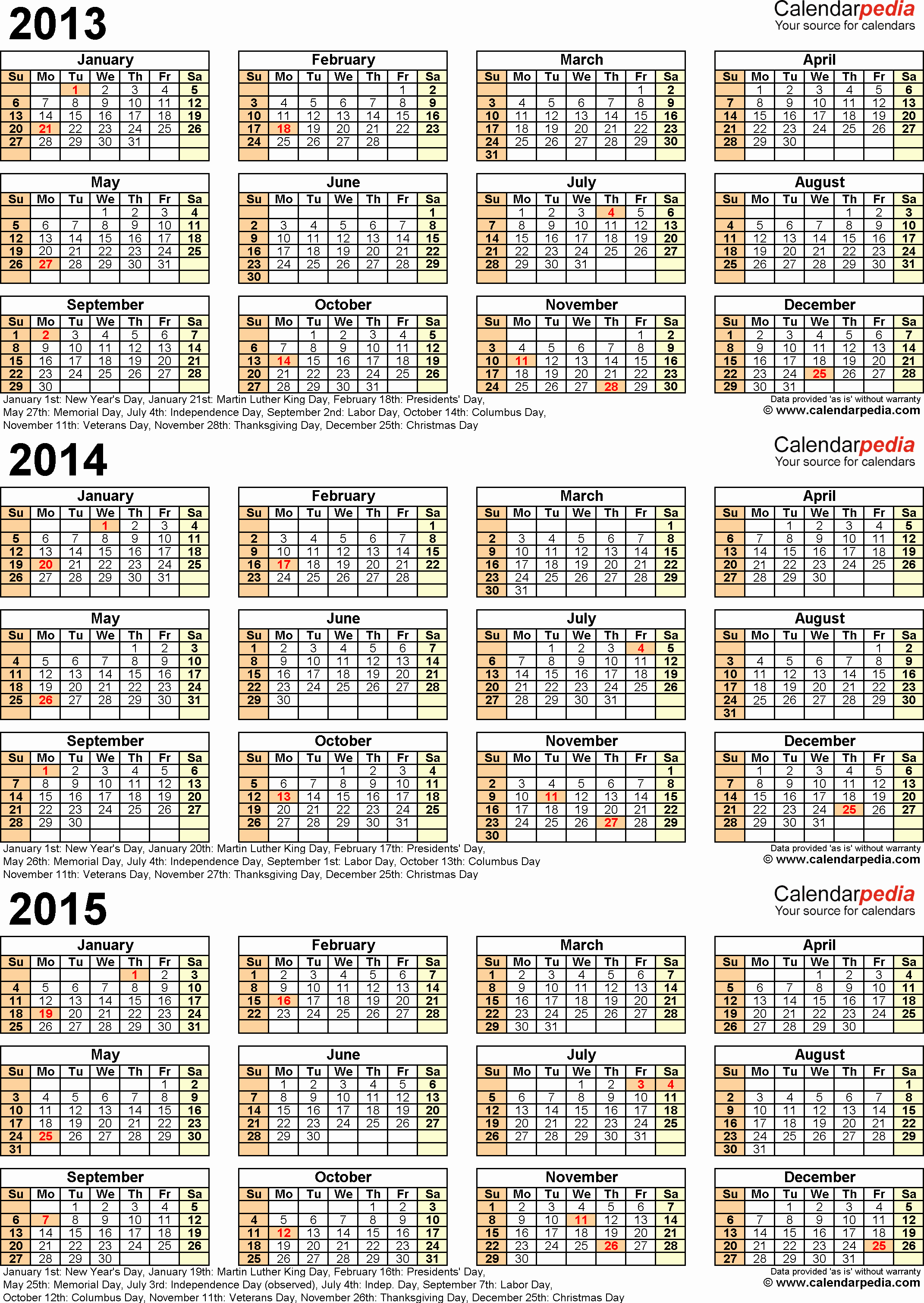 Free Yearly Calendar Templates 2015 Unique 2013 2014 2015 Calendar 2 Three Year Printable Pdf Calendars
