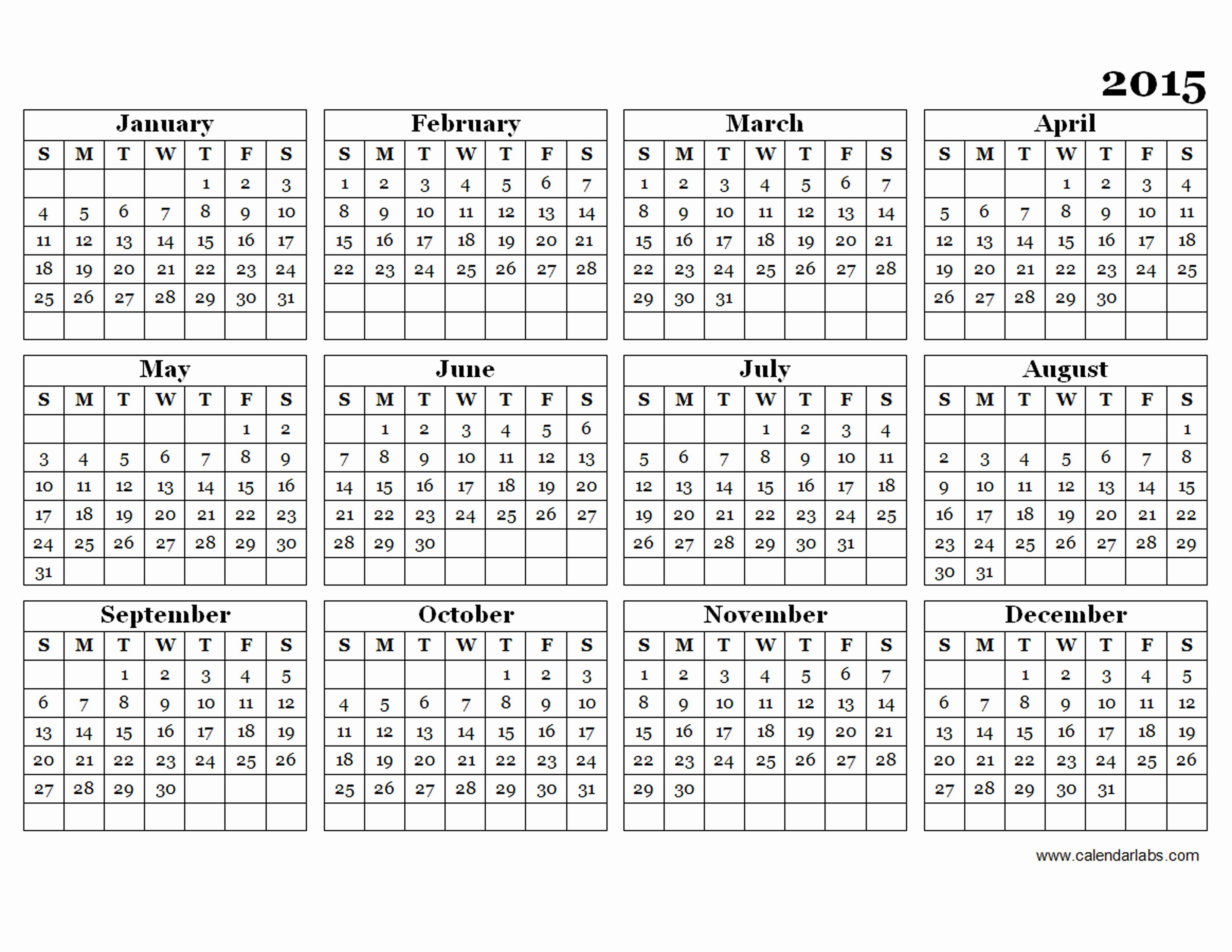 Free Yearly Calendar Templates 2015 Unique 2015 Yearly Calendar Template 09 Free Printable Templates