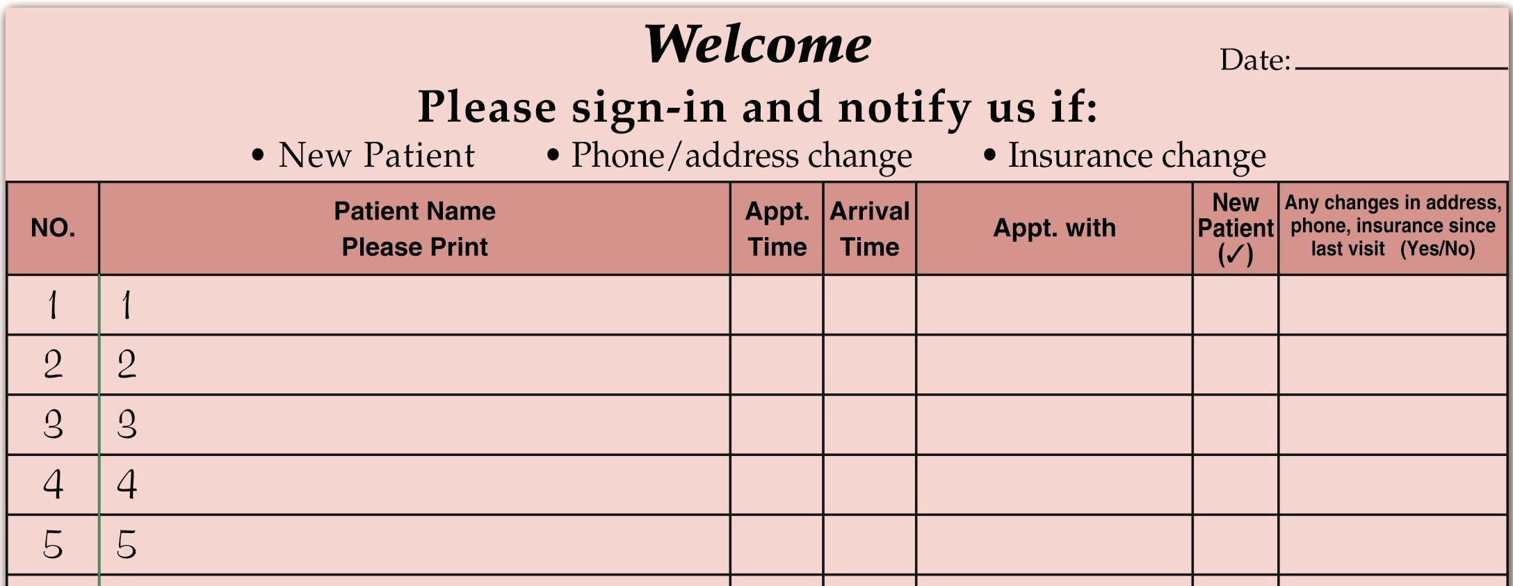 Front Desk Sign In Sheet Awesome Medical Fice Supplies