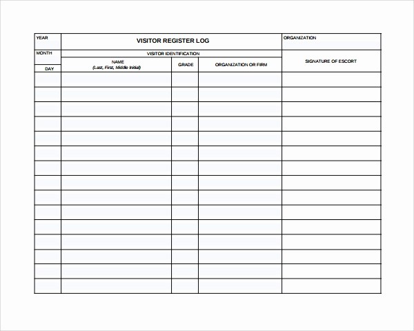 Front Desk Sign In Sheet Best Of 9 Visitors Log Templates – Pdf Word