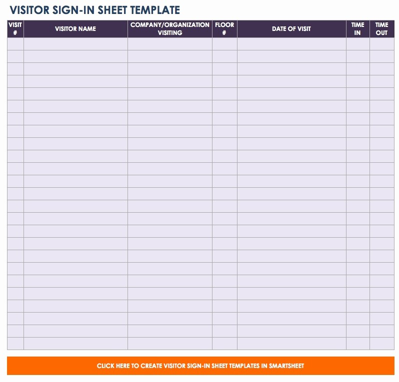 Front Desk Sign In Sheet Fresh Free Sign In and Sign Up Sheet Templates