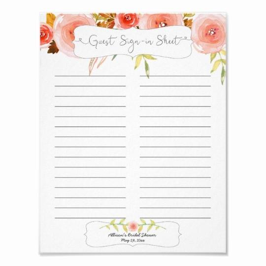 Front Desk Sign In Sheet Inspirational Bridal Shower Guest Sign In Sheet Blush Floral