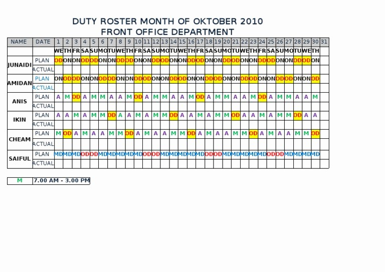 Front Desk Sign In Sheet New form Duty Roster Front Fice Department