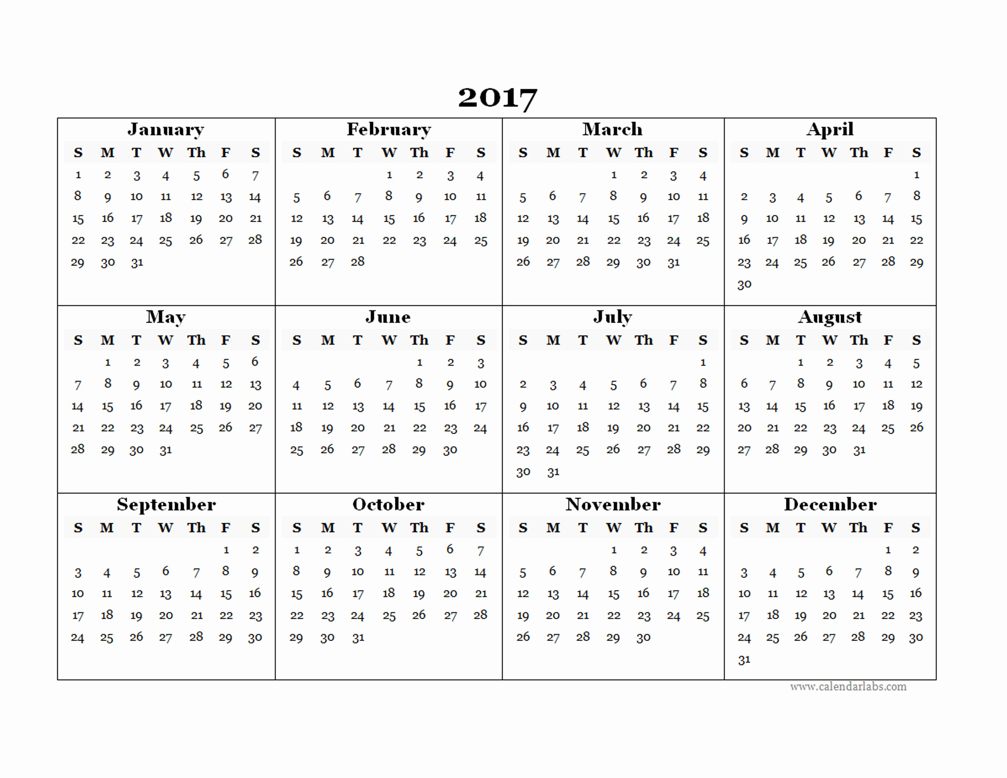 Full Year Calendar 2017 Printable Awesome 2017 Blank Yearly Calendar Template Free Printable Templates