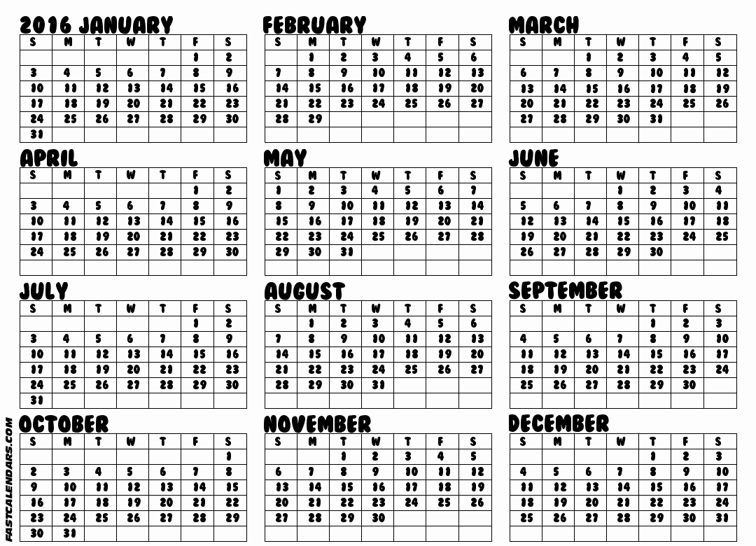 Full Year Calendar 2017 Printable Awesome Blank 2016 Full Year Calendar