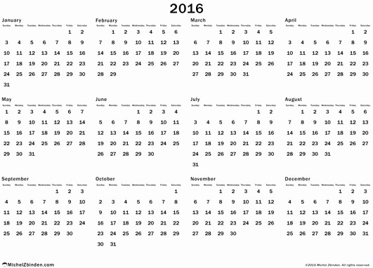 Full Year Calendar 2017 Printable Awesome Full Year Calendar 2016