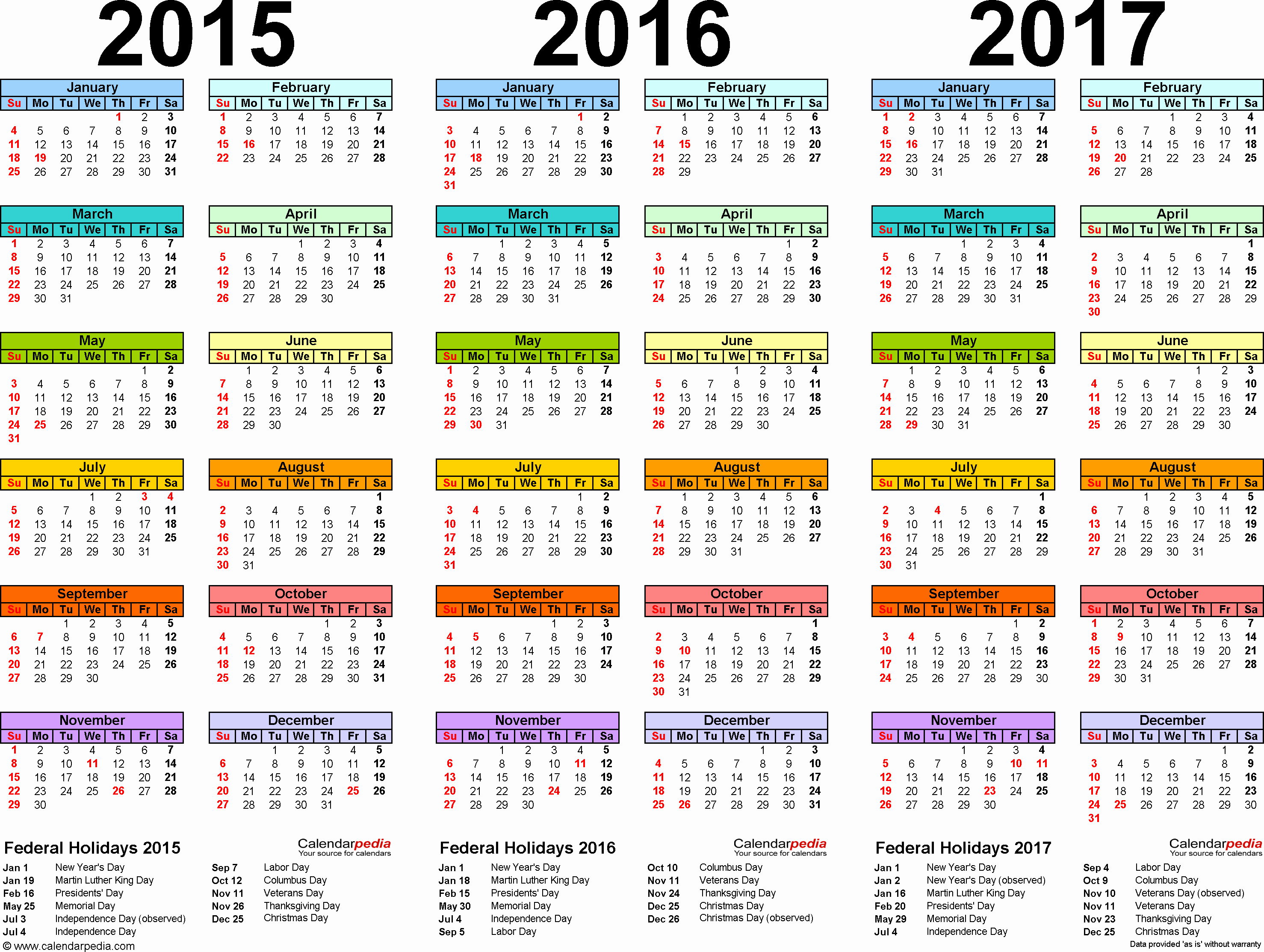 Full Year Calendar 2017 Printable Beautiful 2015 2016 2017 Calendar 4 Three Year Printable Pdf Calendars