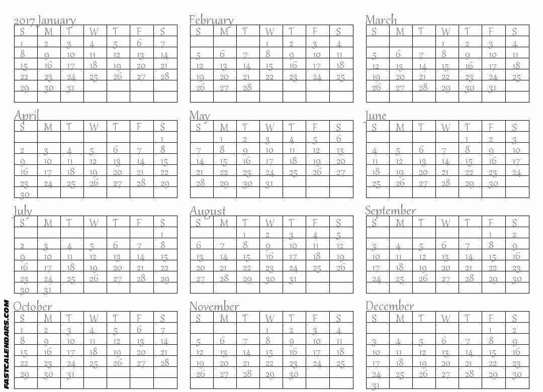 Full Year Calendar 2017 Printable Beautiful Full Year Calendars