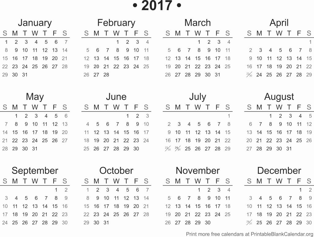 Full Year Calendar 2017 Printable Fresh 2017 Printable Calendar Printable Blank Calendar