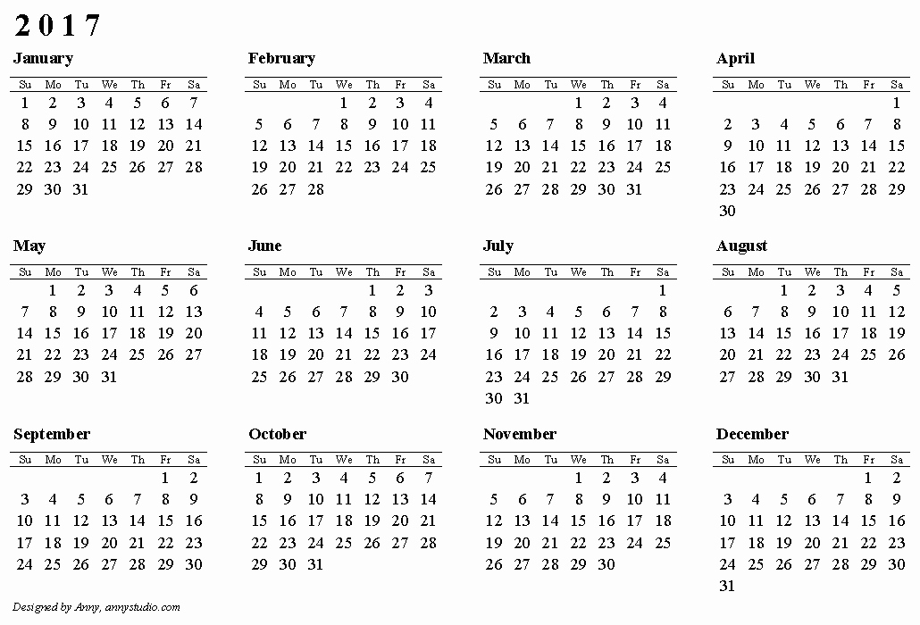 Full Year Calendar 2017 Printable Fresh Free Printable Calendars and Planners 2019 2020 2021