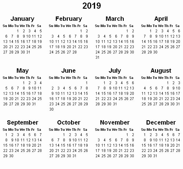 Full Year Calendar 2017 Printable Fresh Yearly Calendar 2019