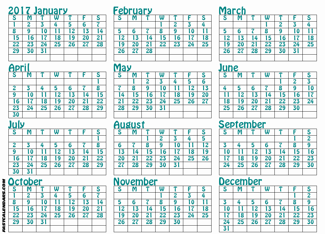 Full Year Calendar 2017 Printable Inspirational Blank 2017 Full Year Calendar