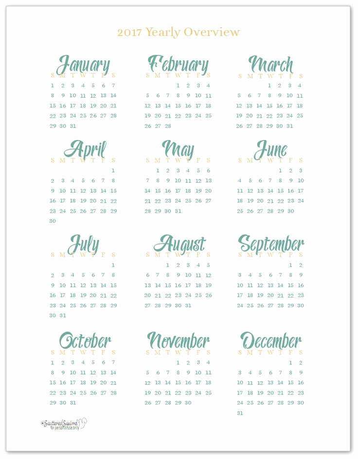Full Year Calendar 2017 Printable Luxury 15 Must See 2017 Calendar Printable Pins