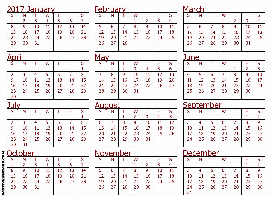 Full Year Calendar 2017 Printable Luxury Full Year Calendars