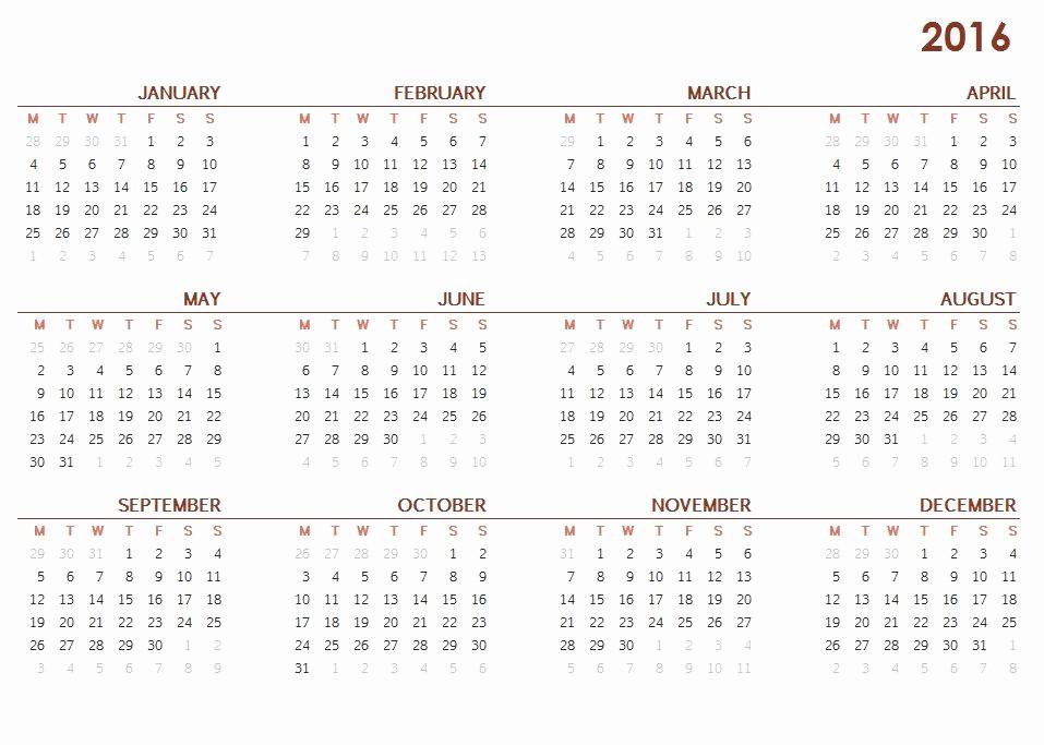 Full Year Calendar 2017 Printable Luxury Printable Full Year Calendar 2016 Calendar Template 2018