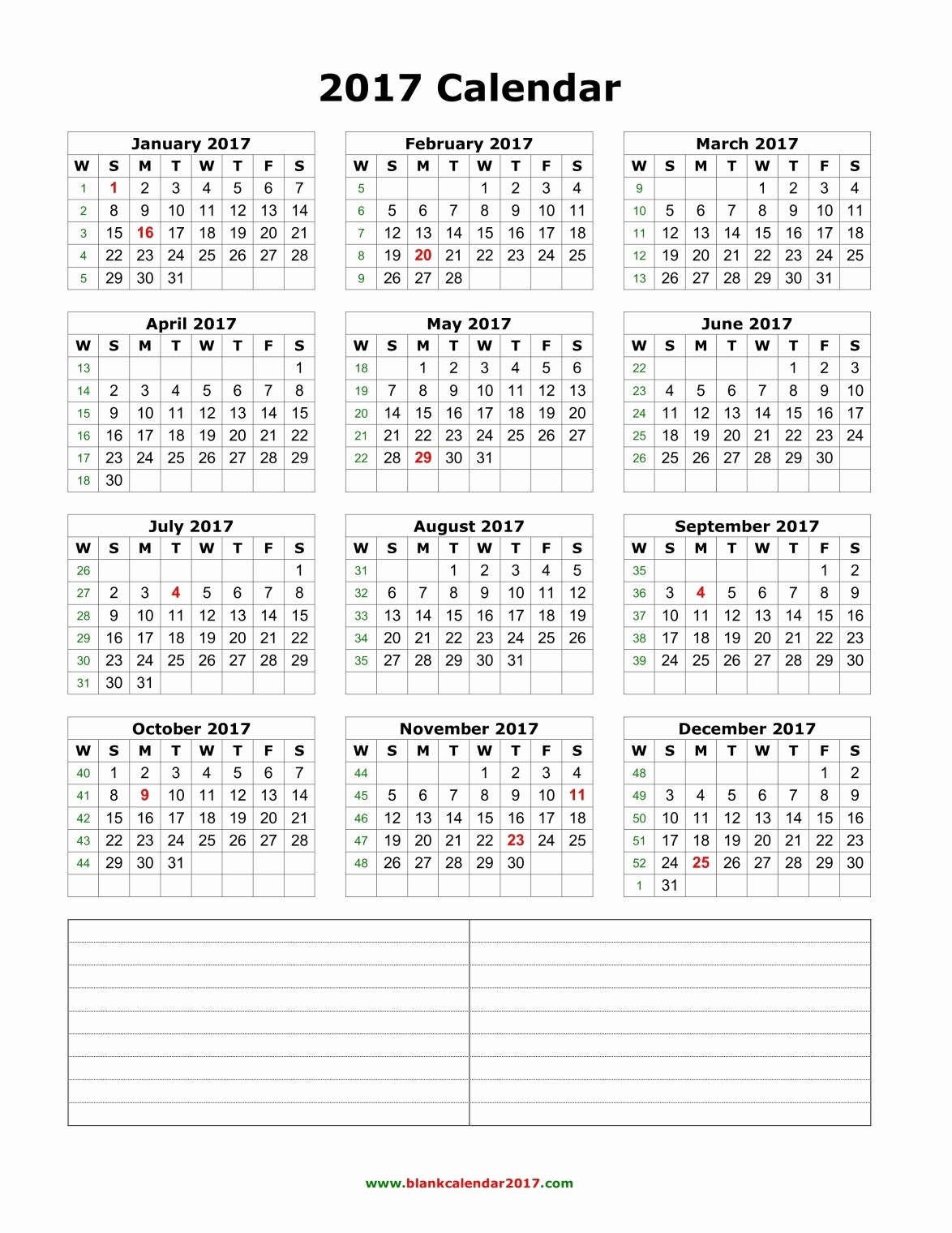 Full Year Calendar 2017 Printable New Yearly Calendar 2017