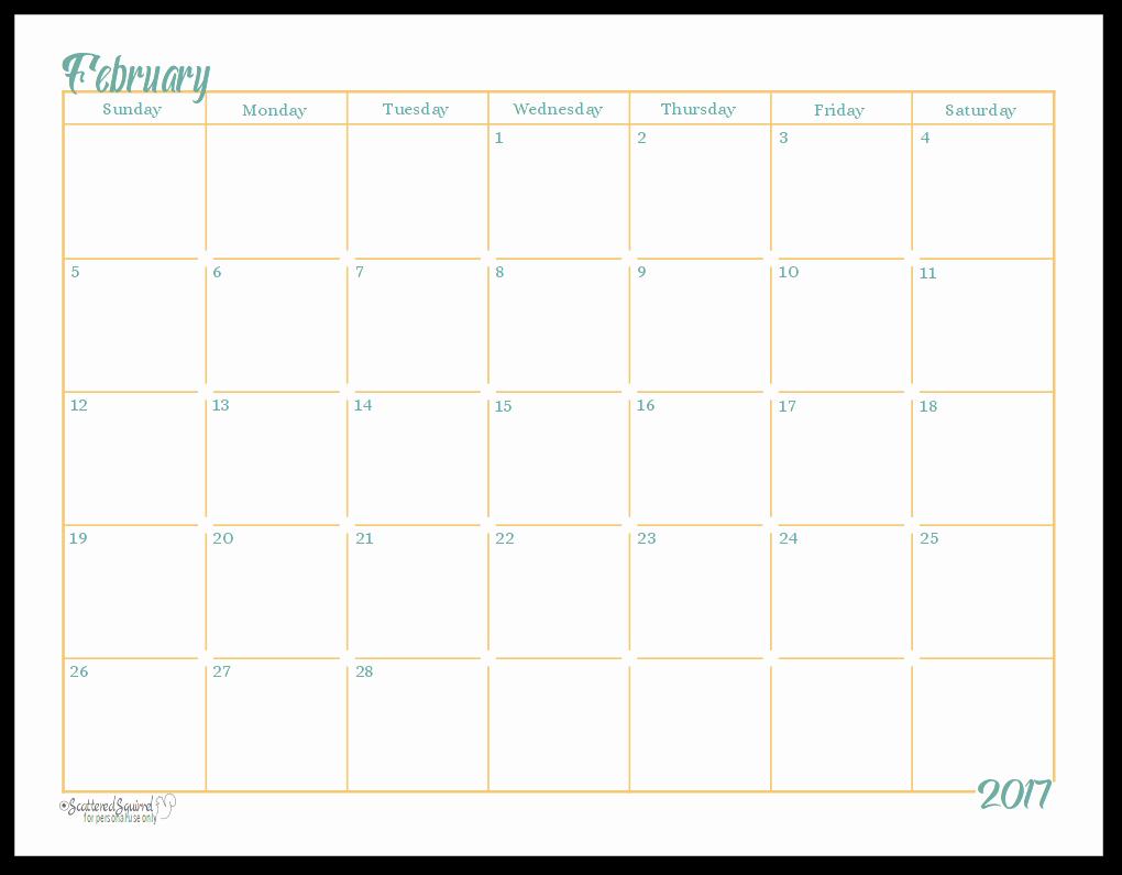 full size printable calendar 2017