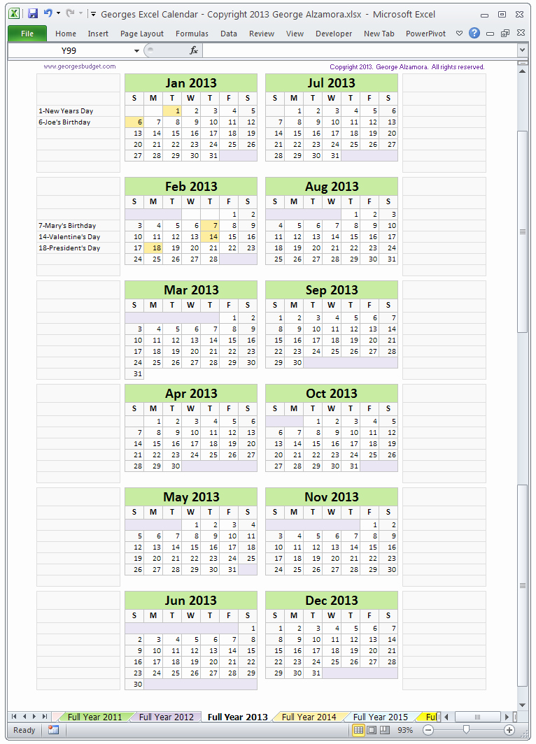 Full Year Calendar Template 2015 Awesome 2015 Monthly Calendar Template Excel