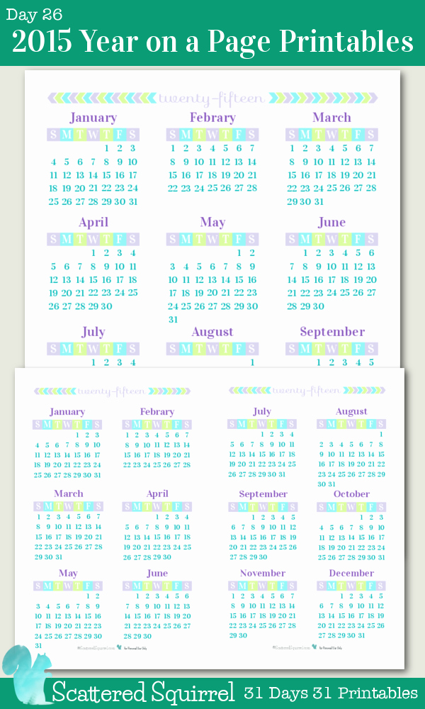 Full Year Calendar Template 2015 Awesome Day 26 2015 Year On A Page Printable Calendars