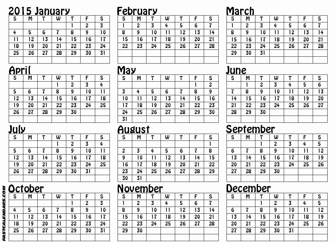Full Year Calendar Template 2015 Awesome Full Year Calendars