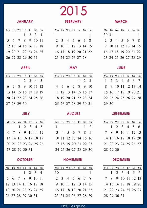 Full Year Calendar Template 2015 Beautiful New York Web Design Studio New York Ny 2015 Calendar