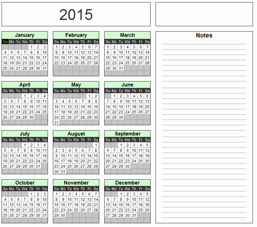 Full Year Calendar Template 2015 Elegant 11×17 Calendar Template for 2016 Excel