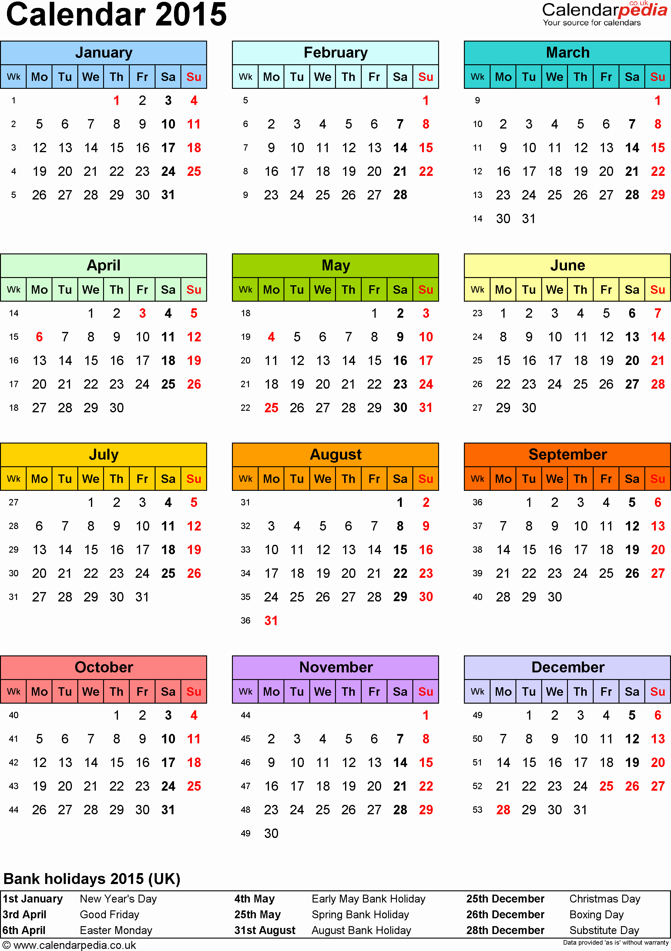 Full Year Calendar Template 2015 Elegant Calendar 2015 Uk 16 Free Printable Pdf Templates
