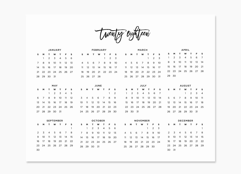 Full Year Calendar Template 2015 Elegant Yearly Calendar at A Glance 2018 Printable