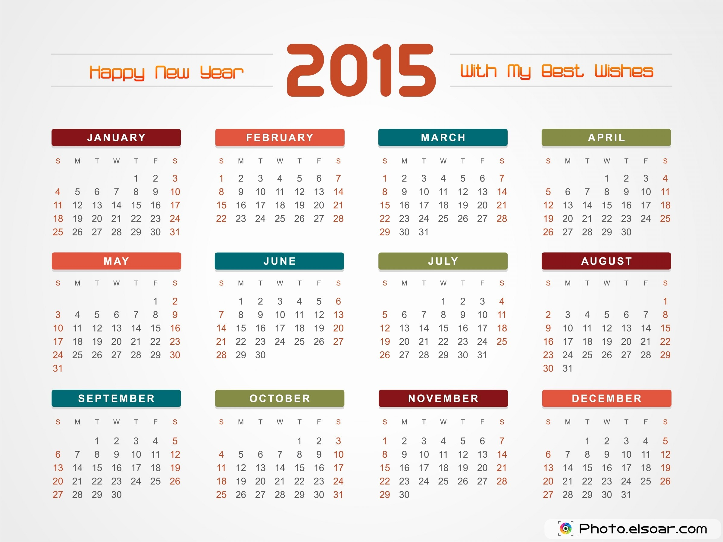 Full Year Calendar Template 2015 Inspirational 2015 Calendars Mixed Designs Ready for Use Elsoar
