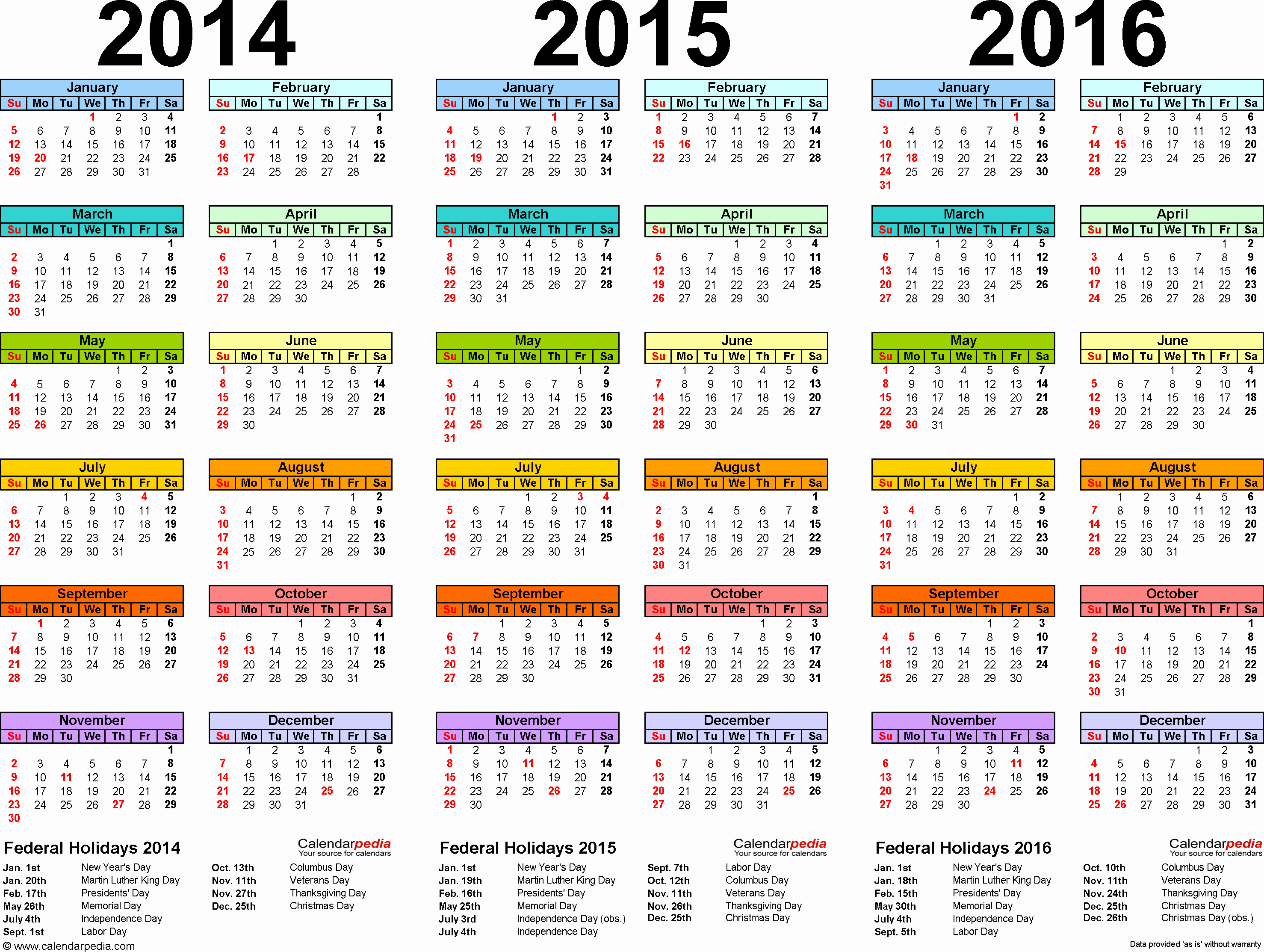 Full Year Calendar Template 2015 Lovely 2014 2015 2016 Calendar 4 Three Year Printable Excel