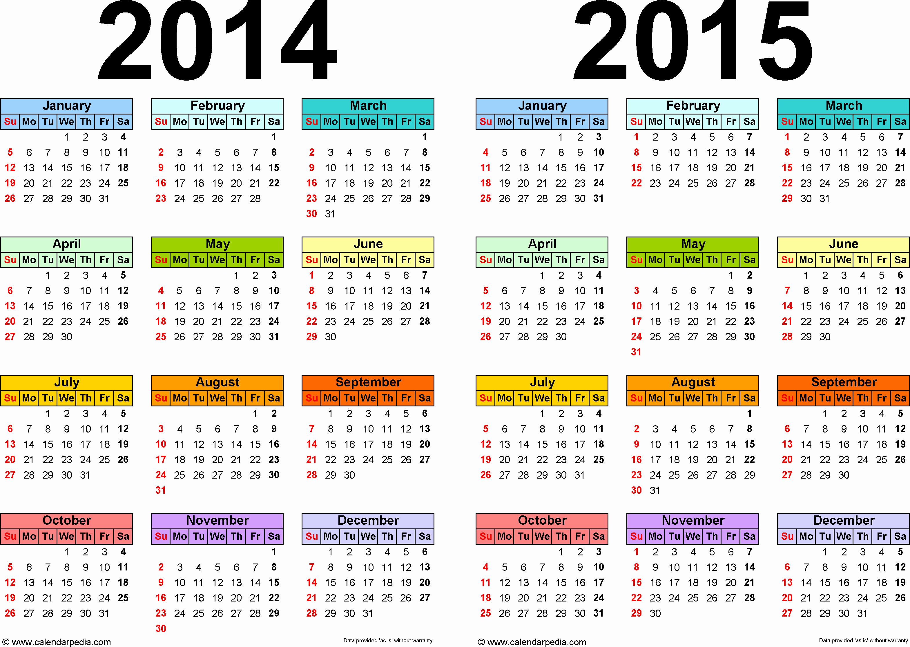 Full Year Calendar Template 2015 Lovely 2014 2015 Calendar Free Printable Two Year Pdf Calendars
