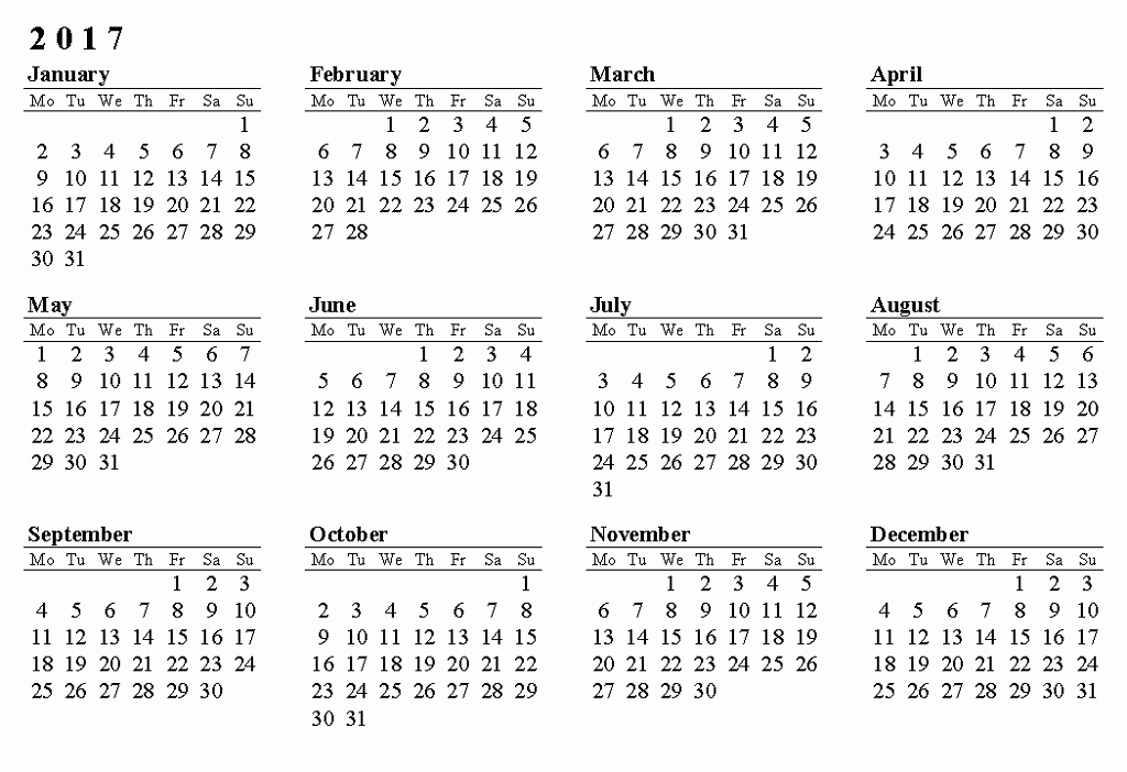 Full Year Calendar Template 2015 Luxury Calendar 2017 Ly Printable Free