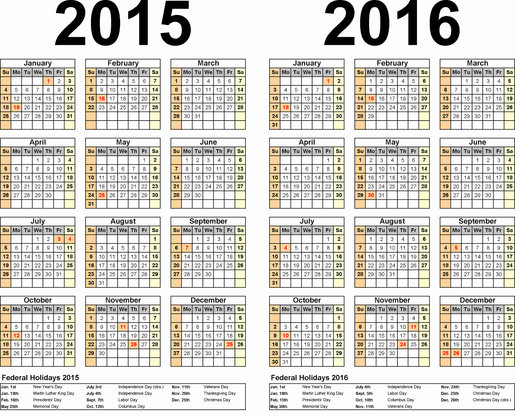 Full Year Calendar Template 2015 New 2016 Calendar Printable E Page