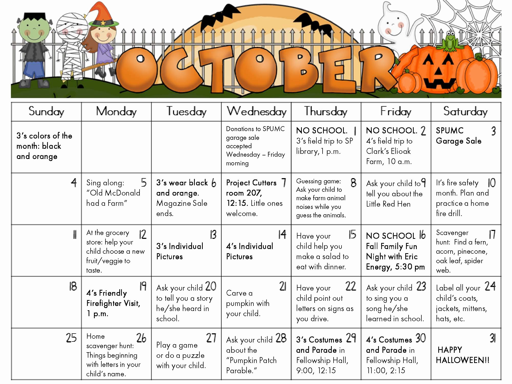 Full Year Calendar Template 2015 New Nursery School