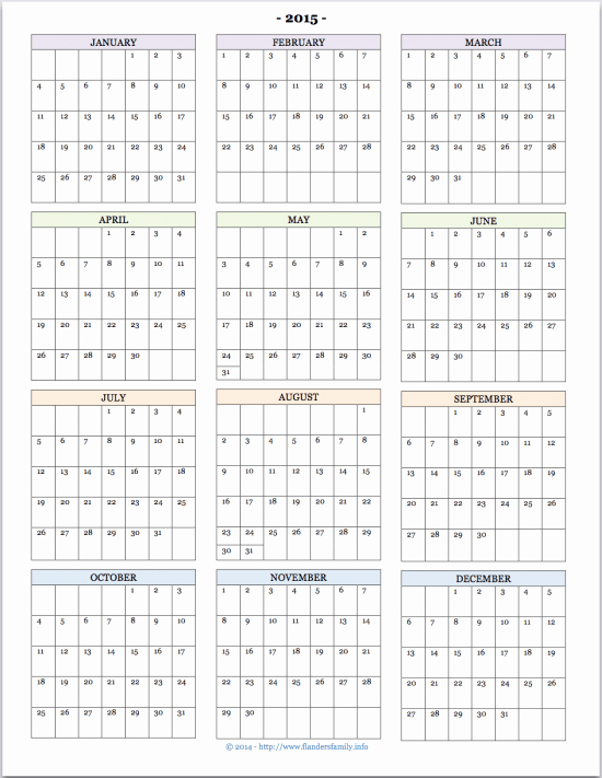 Full Year Calendar Template 2015 Unique Free Printable 2015 Calendars Flanders Family Homelife