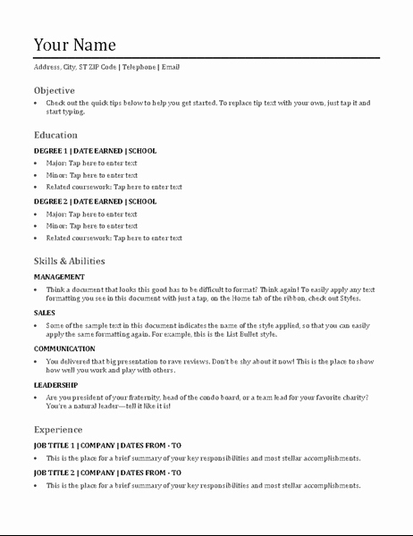Functional Resume Templates Free Download Fresh Functional Resume Template