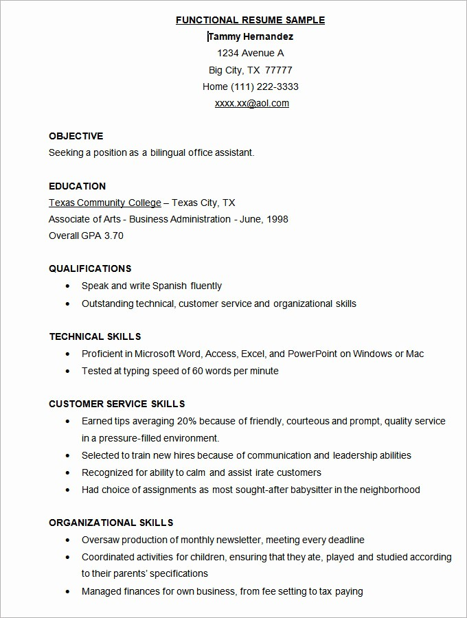 Functional Resume Templates Free Download Fresh Microsoft Word Template 49 Samples