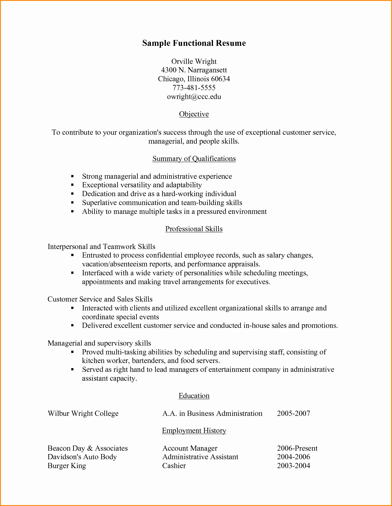 Functional Resume Templates Free Download Inspirational 11 Functional Resume Customer Service