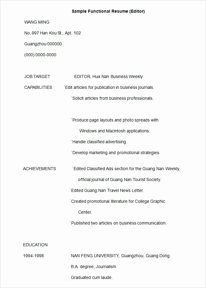 Functional Resume Templates Free Download Lovely Free Functional Resume Templates Template 5 Samples