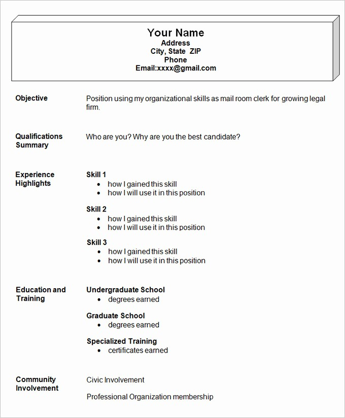 Functional Resume Templates Free Download Lovely Simple Template 46 Samples Examples