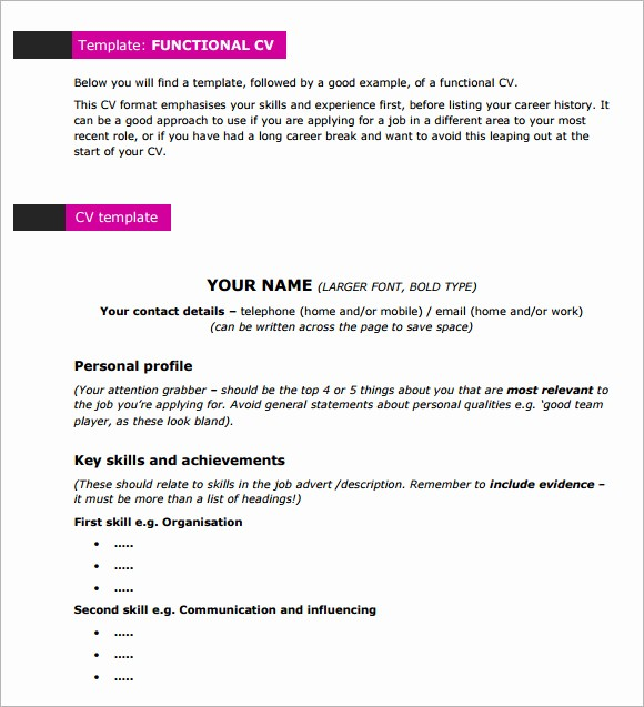 Functional Resume Templates Free Download Luxury 10 Functional Cv Samples
