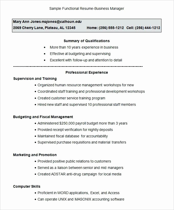 Functional Resume Templates Free Download Unique Functional Resume Examples and Templates Example format