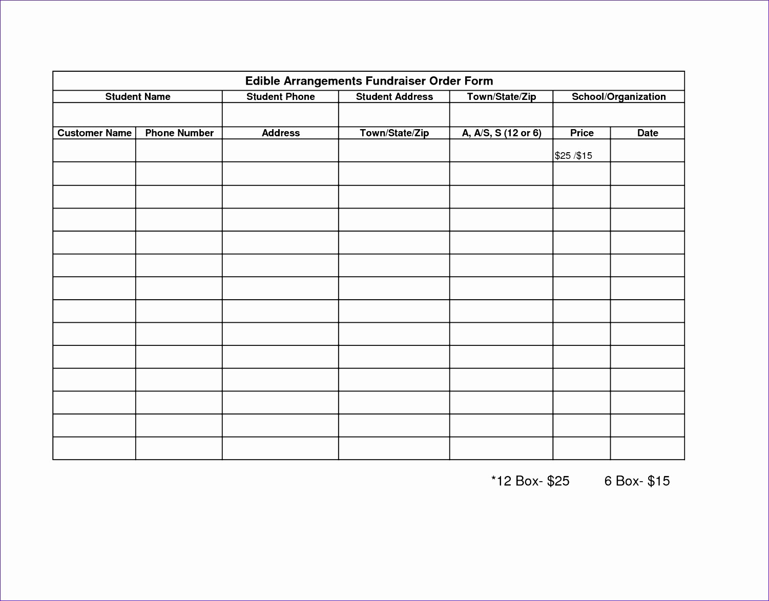 Fundraiser order form Template Excel Awesome 6 Fundraising Template Excel Exceltemplates Exceltemplates